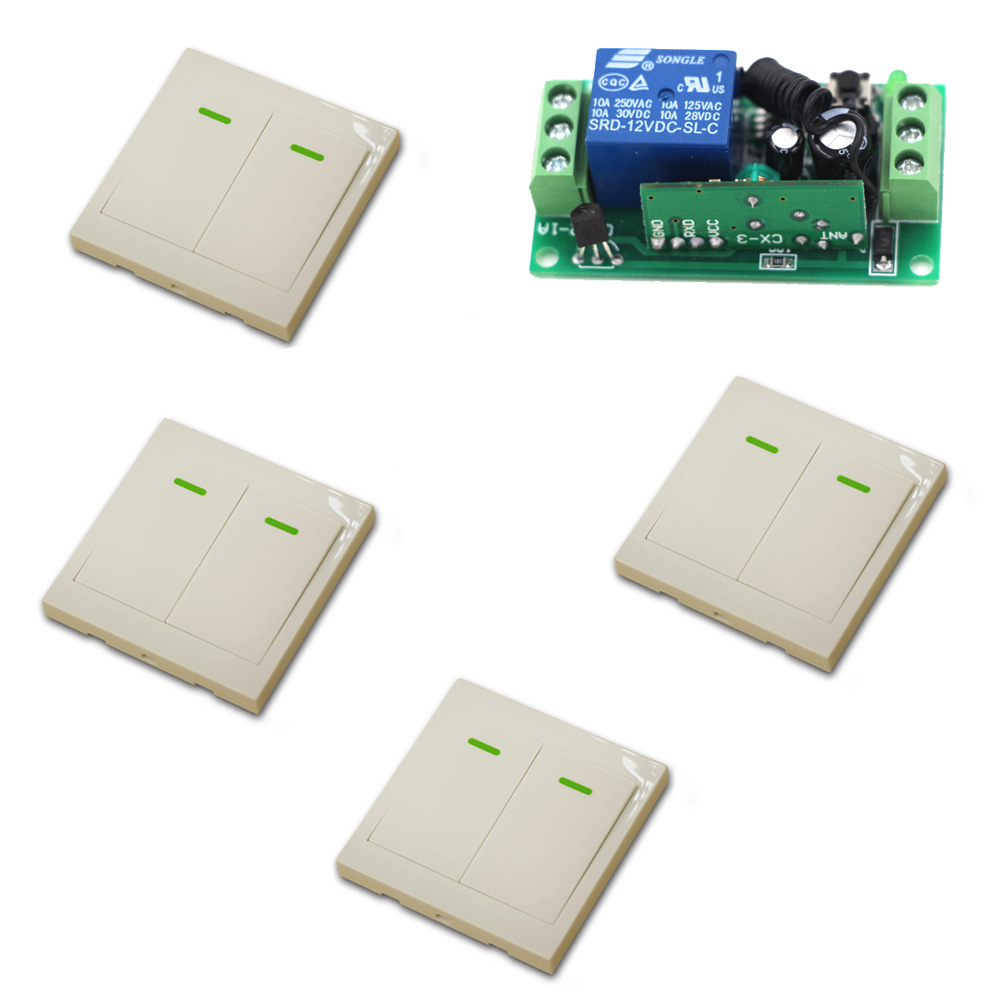 RF Wireless Remote Control Switch System 10A 1 Ch Receiver Relay Module Wall Transmitter For Lighting Lamp Fixed Code 315/433Mhz book light night light reading light battery desk light lamp flexible table lamp with clip super bright flashlight for camping