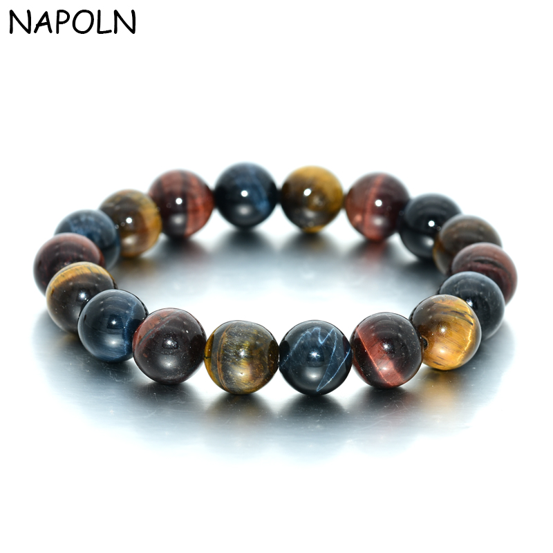 NAPOLN Yellow Blue Red Tiger Eye Beads Bracelet Bangles For Men Women Natural Tiger Eye Stone Bracelet Dropshipping