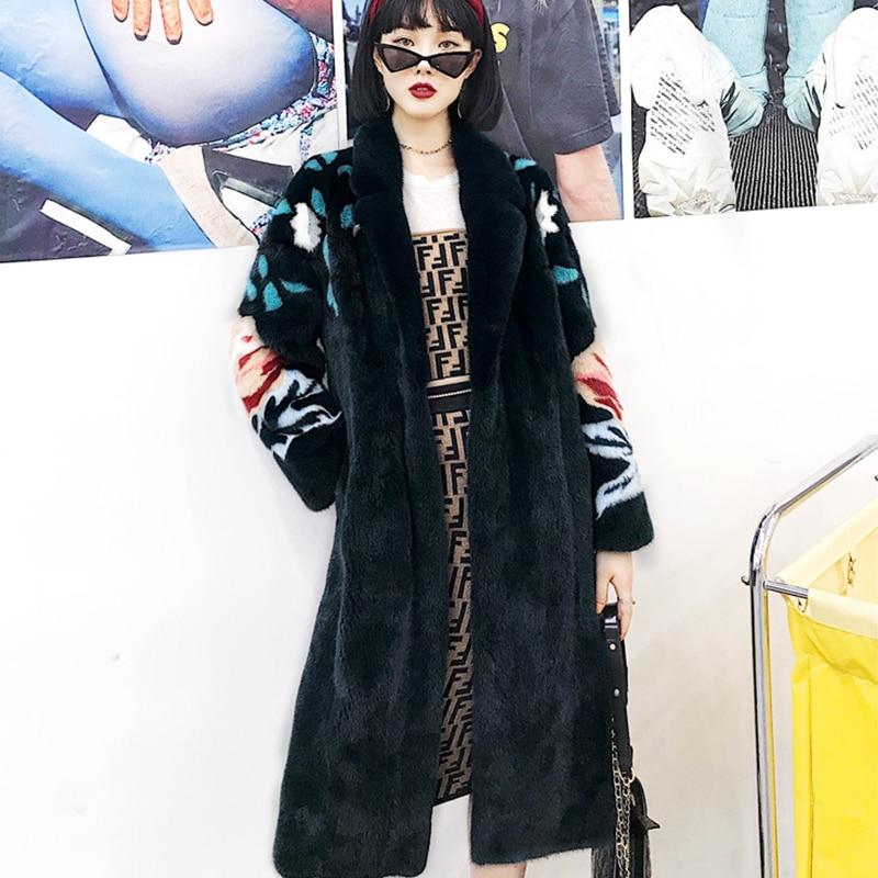 Vert Réel Contraste De Style Velours Fansty Importation Spectacle Y D'hiver Manteaux M Manteau Naturel 2019 Femmes Vison Fourrure noir Impression Mince Couleur 4RtwgF