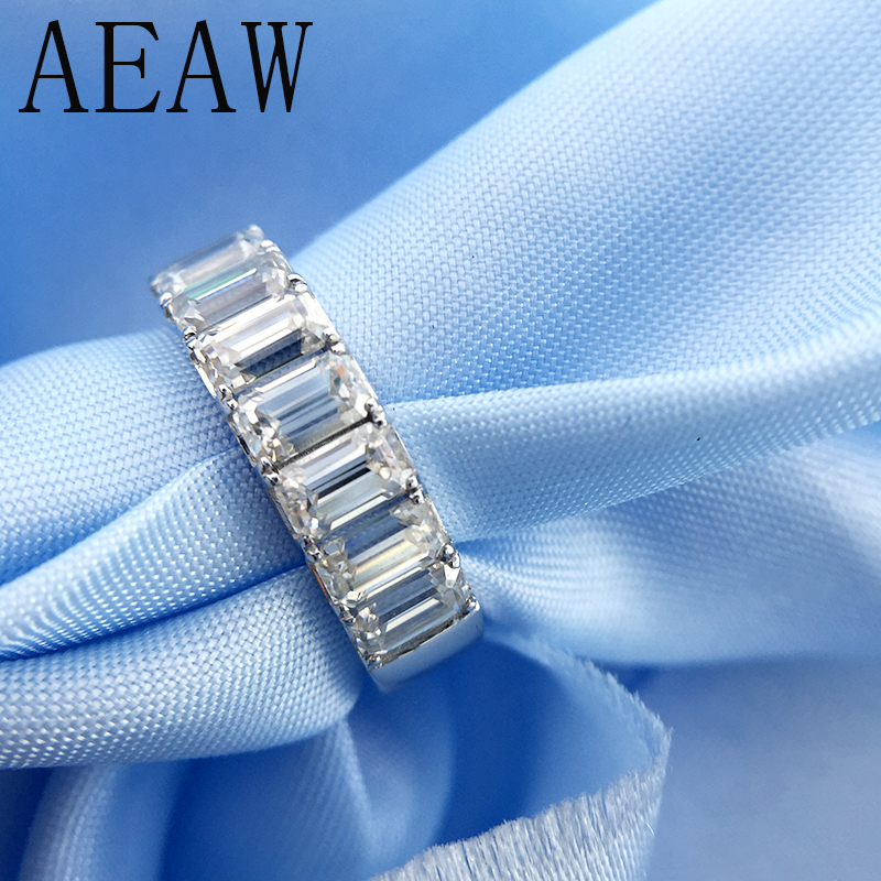 AEAW Emerald 2Ctw F Color Engagement Band Ring Wedding Moissanite Baguette Half Eternity Diamond Band For Women in Silver