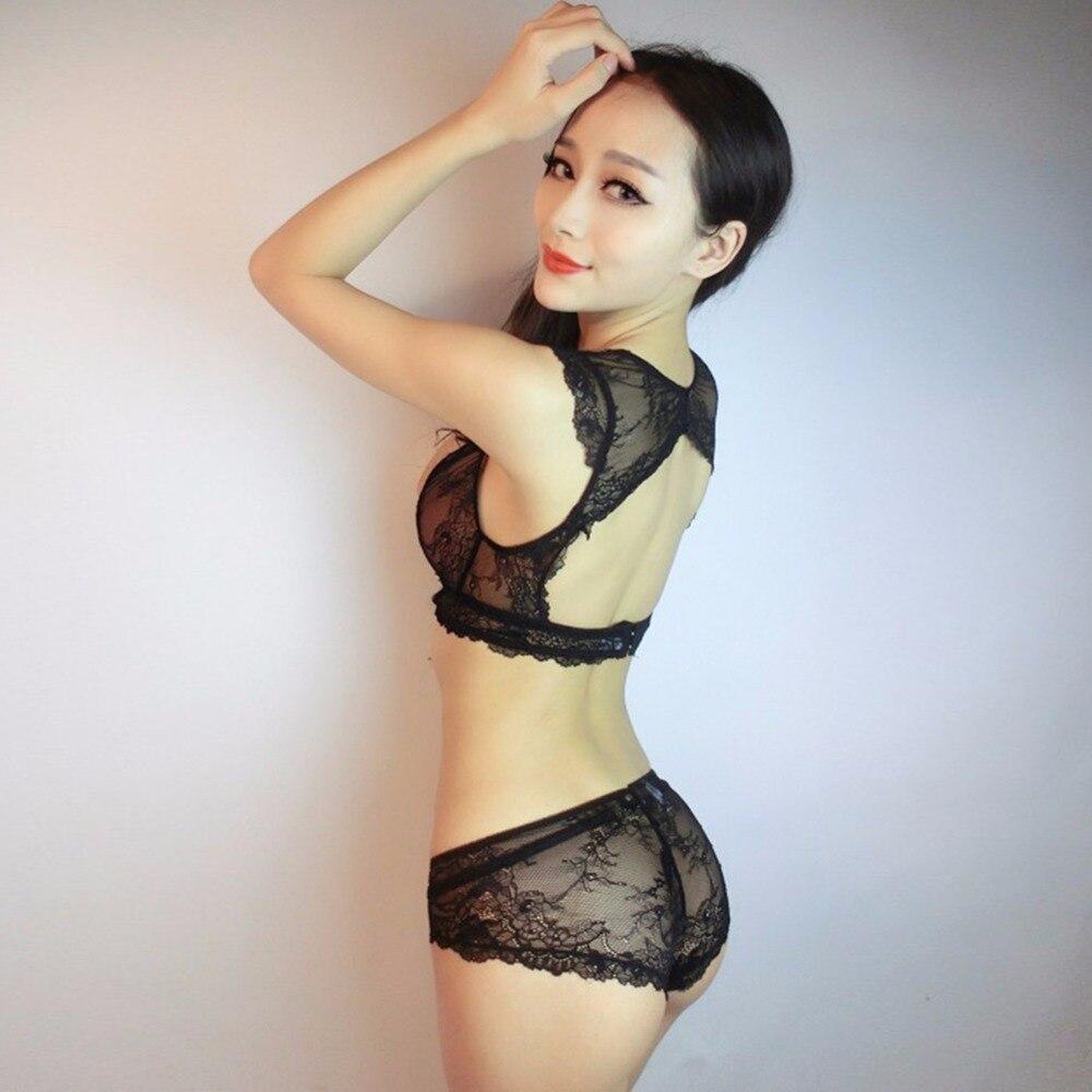 Transparent Lace Sexy Hollow Vest Deep V thin   Bra     sets   Brassiere Lingerie Underwear   Bra     Sets
