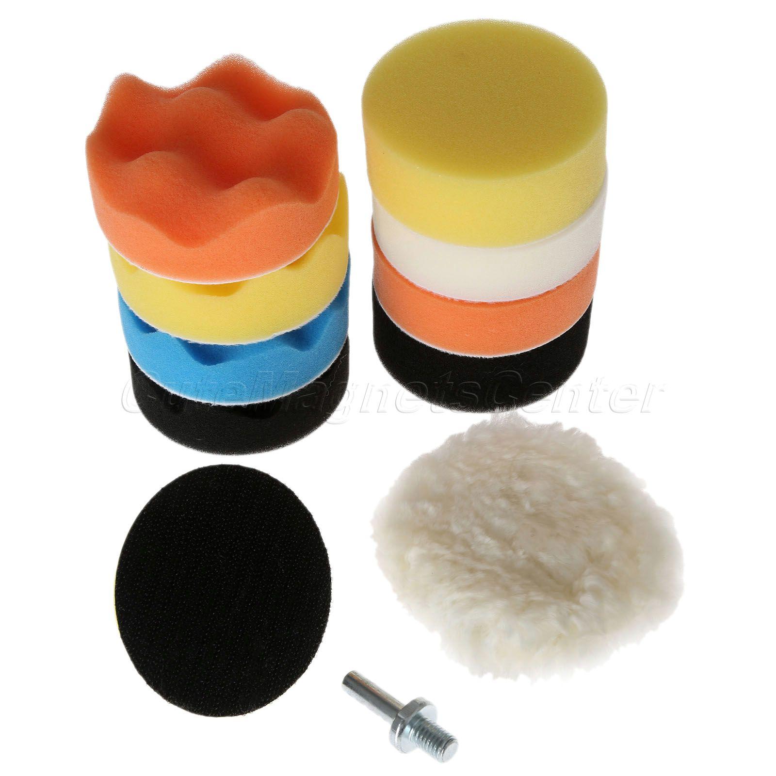 11Pcs 3M10 M14 Waffle Buffer Polishing Pad Set For Car Polisher Automobile Cleaning Detailing Vehicle Wash Polish Sponge Wheel