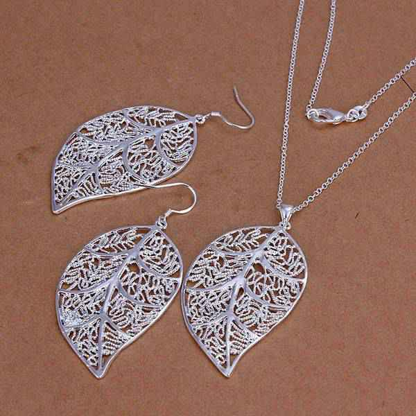 Factory price top quality silver plated leaf jewelry sets necklace bracelet bangle earring ring free shipping SMTS180