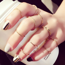 Korean edition ring ten sets female individuality combination contracted student adorn article gift(China)