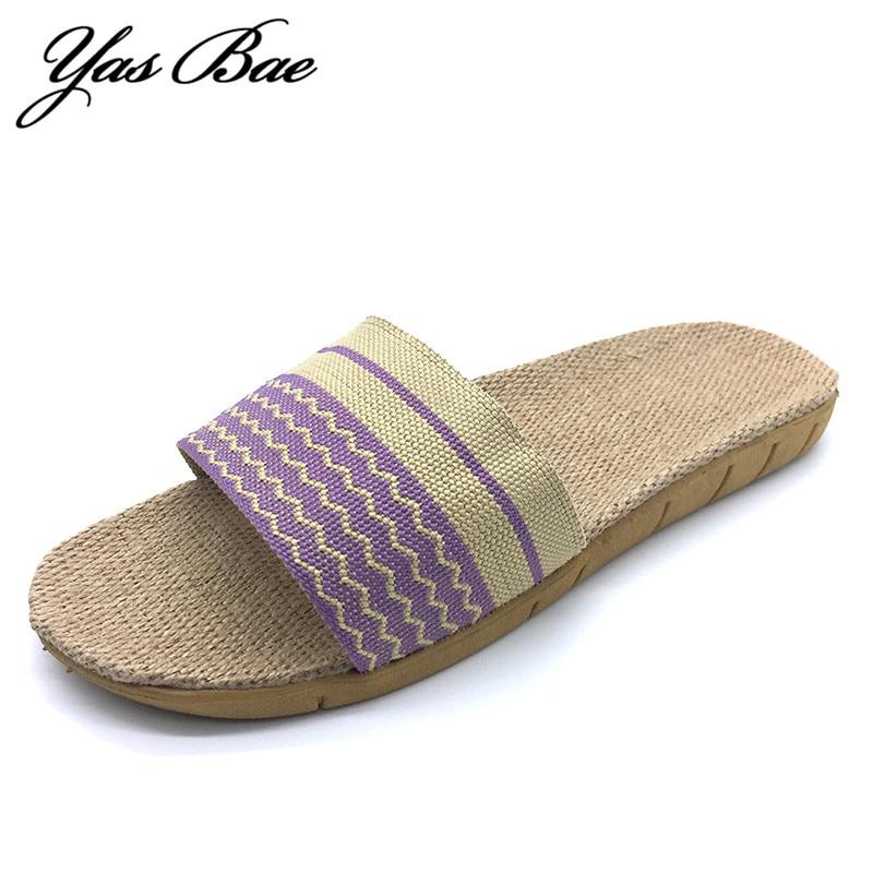 Suck sweat 2017 Fashion summer female Home flat house mule Sandals Hemp Slipper Thong indoor linen flax flip flop shoe for Women eastland women s mae mule