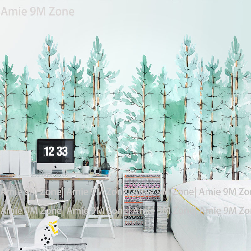 Tuya Art watercolor pale green trees mural wallpaper for living room office wall decor free shipping discount tuya art tuya cutom 3d wallpaper on the wall wholesale photo picture wall mural for the living room bedroom children s room