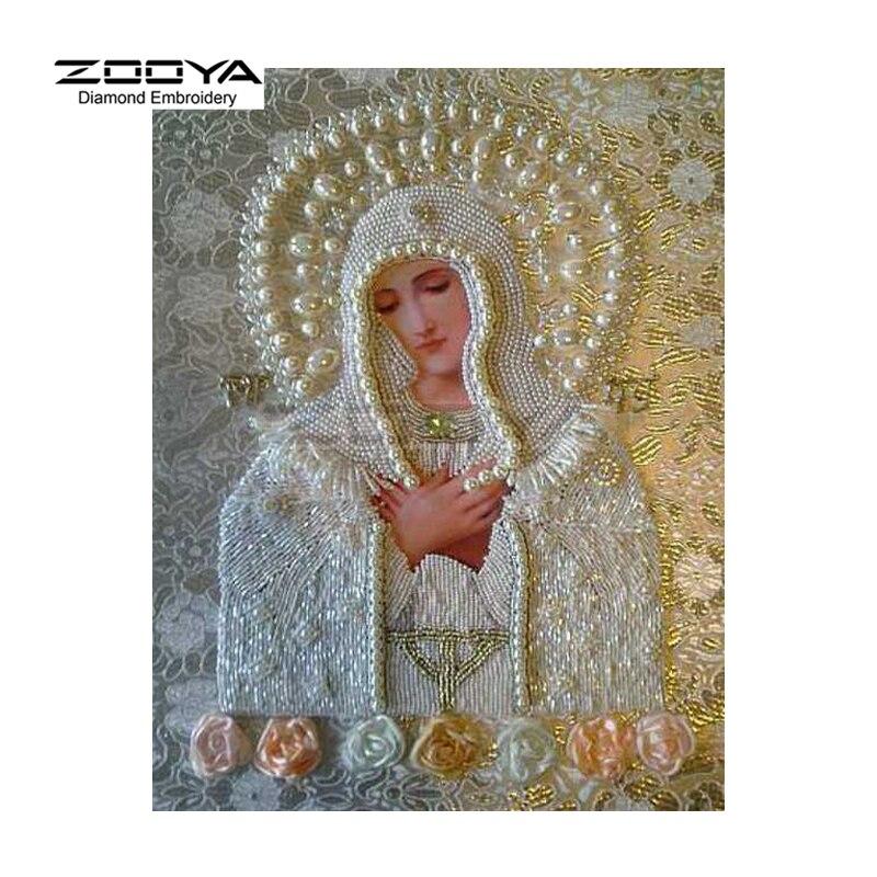 New DIY Square Full Diamond Embroidery Icon Diamond Religion Virgin Mary Rhinestones Cross Stitch Kits Diamond Embroidery BJ152
