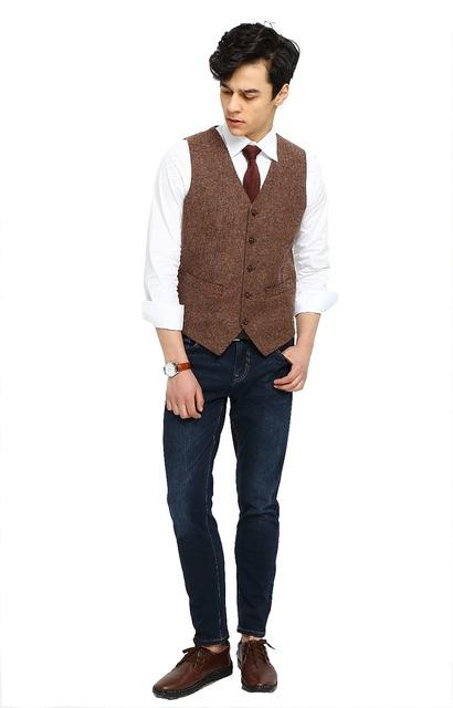 2016 Verano Boda de La Granja Marrón Chaleco De Tweed Hombres Novios Desgaste Chaleco por Encargo Slim Fit Para Hombre de La Boda Chaleco Traje Formal Chaleco Plus tamaño