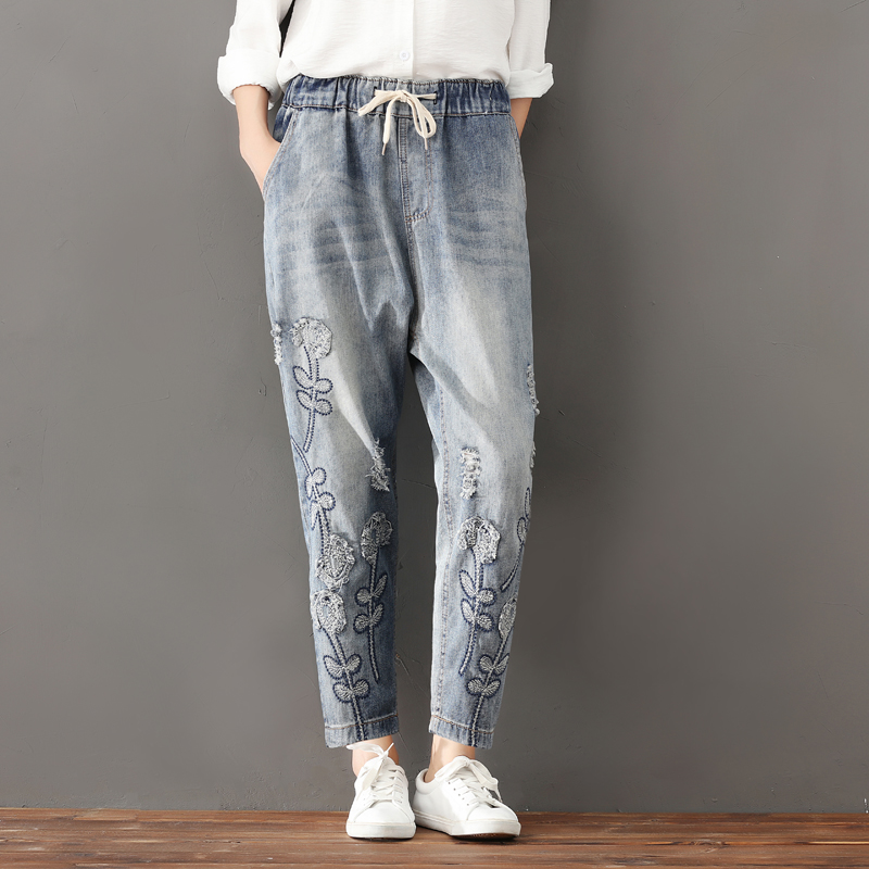 Cheap Wholesale 2019 New Autumn Winter Hot Selling Women's Fashion Casual  Denim Pants FP100
