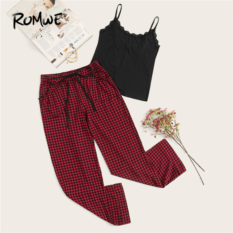 ROMWE Lace Trim Cami With Drawstring Gingham Pants PJ Set Summer Women Spaghetti Strap Sleeveless Casual Sleepwear Pajama Sets