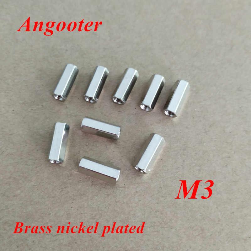 100 ชิ้น M3 ทองเหลือง Standoff Spacer หญิงหญิงชุบนิกเกิลระยะห่างของสกรูทองเหลืองเกลียว Hex Nut Spacer M3 * 5 /6/8/10/12/15/20/25