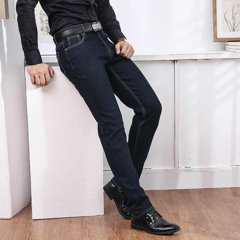 b4d7e1c42a52 Jantour мужские джинсы теплые утолщенные Стрейчевые джинсы узкие брюки  джинсы ...