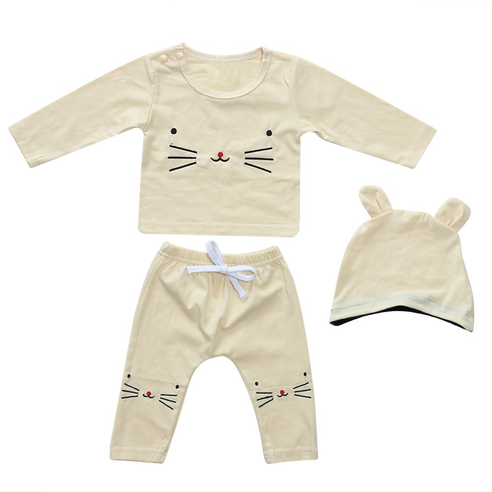 3pcs/set Newborn Baby Clothes Infant Girls Boys Cartoon Kitty Embroidered Long Sleeve Underwear+Pants+Cat Ear Hat Outfits Set