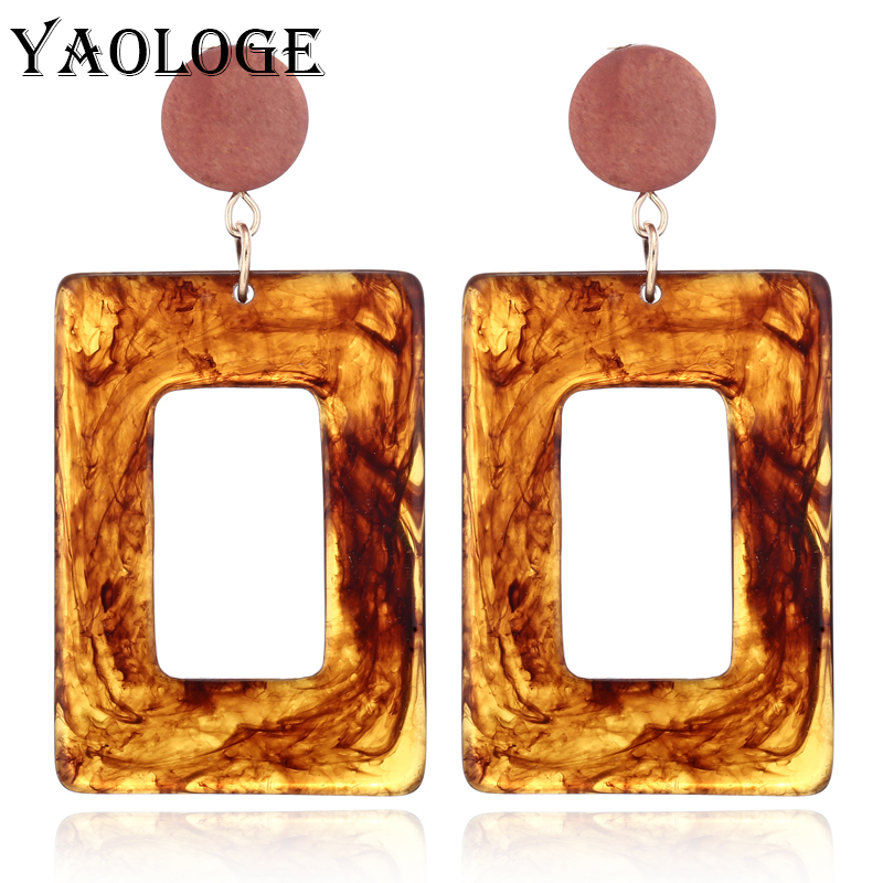 YAOLOGE Fashion Square Acrylic Earrings Multicolored Hollow Geometric Jewelry For Women Accessories Trendy Vintage Statement