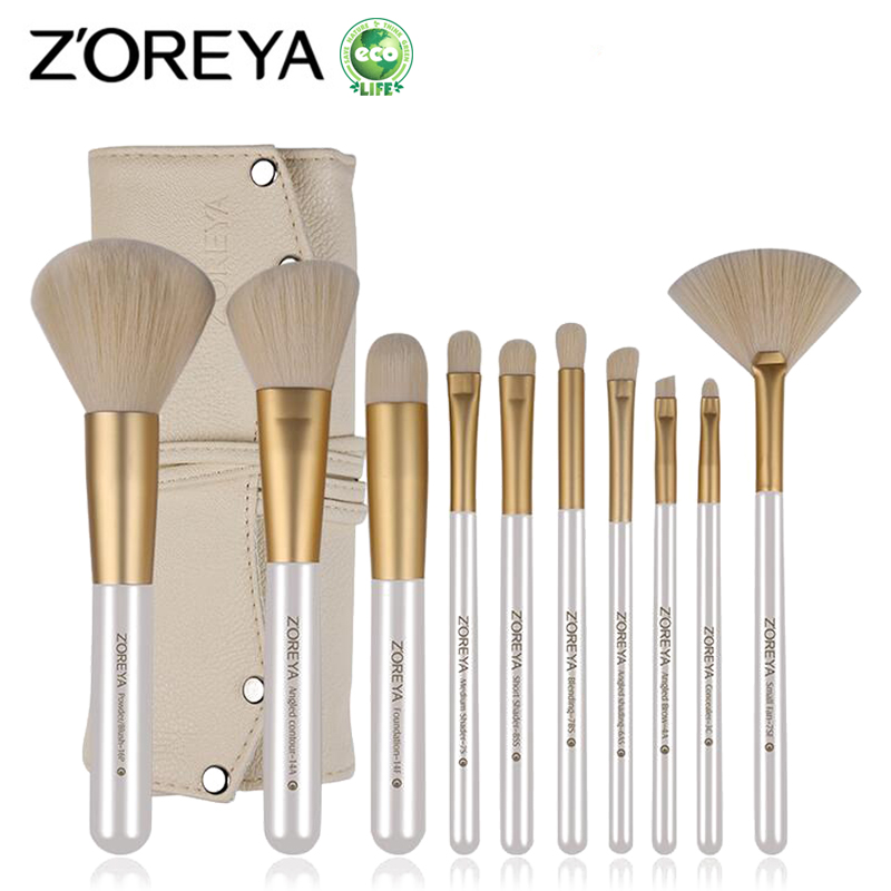 ZOREYA 10pcs Makeup Brush Set Professional Cosmetic Tools For Beauty Women Foundation Powder Blush Eyeliner Make Up Brushes zoreya 9pcs professional portable makeup brushes sets kolinsky hair foundation powder blush make up brush cosmetic tools pinceis