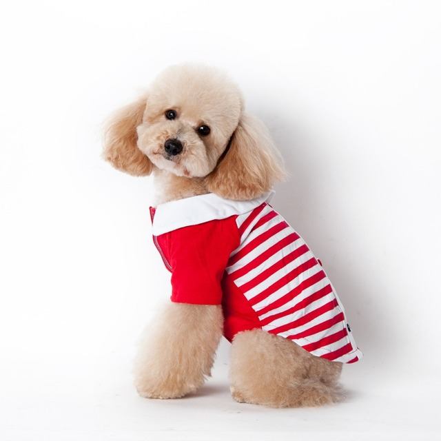Dog Jacket Navy wind stripe Printing Two Legs Clothes  puppy dog coat teddy  wholesale and retail
