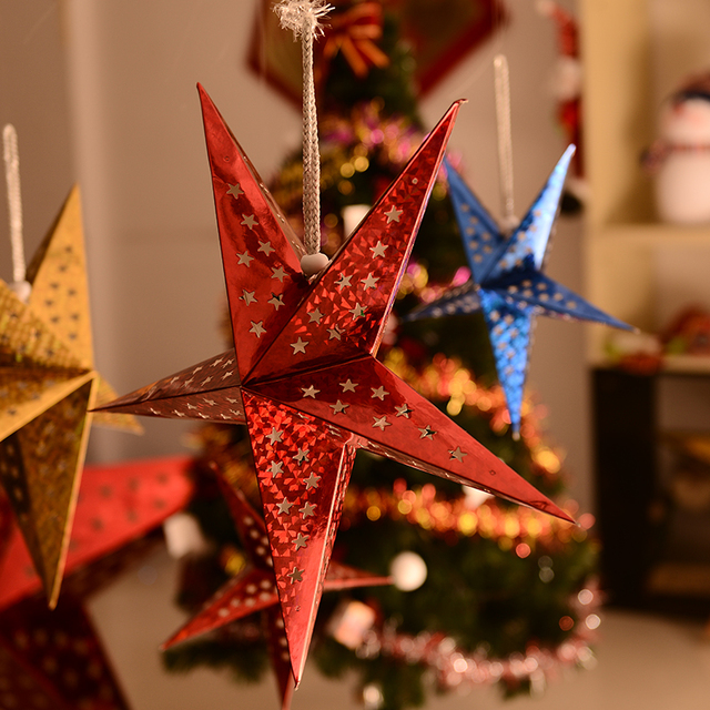 halloween christmas decorations three dimensional laser pentagram ceiling pendant scenario chimney paper stars - Halloween Christmas Decorations
