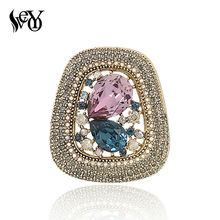 VEYO High Quality Round Luxury  Full Of Crystal Rhinestone Gold Color Brooch Vintage Jewelry Wholesale