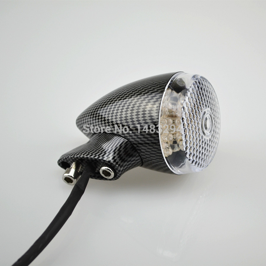 4x Carbon fibre Front Rear Motorcycle LED Turn Signal Light 41mm Fork Clamp For Harley