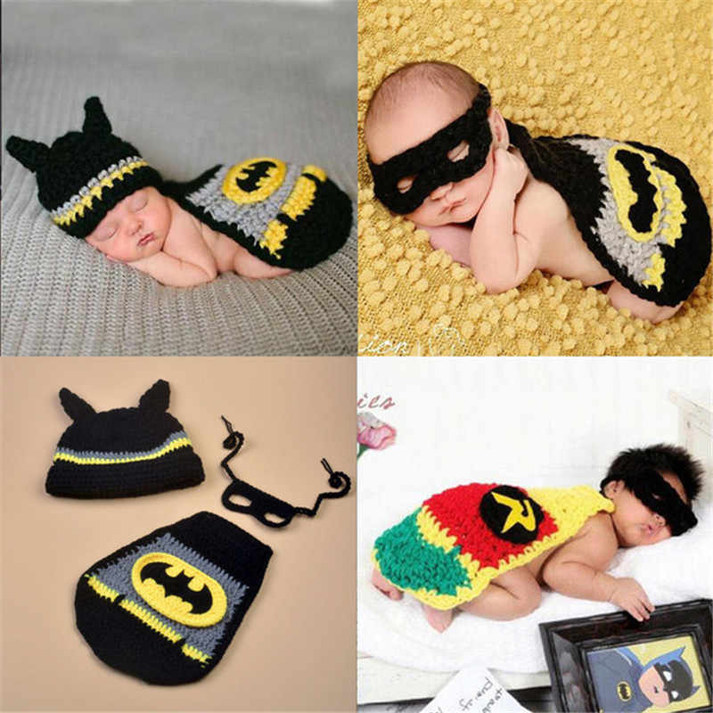 Crochet Newborn Batman Cape Photo Prop Baby Photography Props Toddler Super Hero Halloween Costume Outfit Boy Girl Knit Costume
