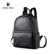 Latue Seed Backpack Women 2018 New Cowhide Bag Rivet Lingge Wild Version Of The Tide Casual Soft Genuine Leather Backpack
