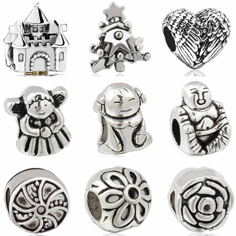 Vintage Punk Alloy Animal Panda Owl House Cat Butterfly Stars DIY Beads Fit Original Pandora Charms Bracelets for Women Perles