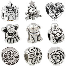 Vintage Punk Alloy Animal Panda Owl House Cat Butterfly Stars DIY Beads Fit Original Pandora Charms Bracelets for Women Perles(China)