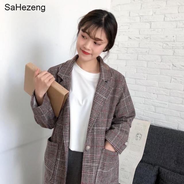 5a5505a79c0 2018 Spring Autumn Elegant Women Blazers Plaid Korean Loose Blazers English  Vintage Causal Ladies Suits Jackets Long Sleeve WB7