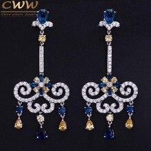 2016 Estilo Europeo Royal Azul Amarillo Pendientes de La Vendimia de Lujo Cubic Zirconia Jewelry CZ Crystal Largo Dangleing CZ333