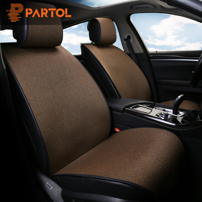 Partol Universal Car Seat Cover Pad Breathable Flax Automobile Seat Covers Auto Seat Cushion Protector Front Rear Car-Styling