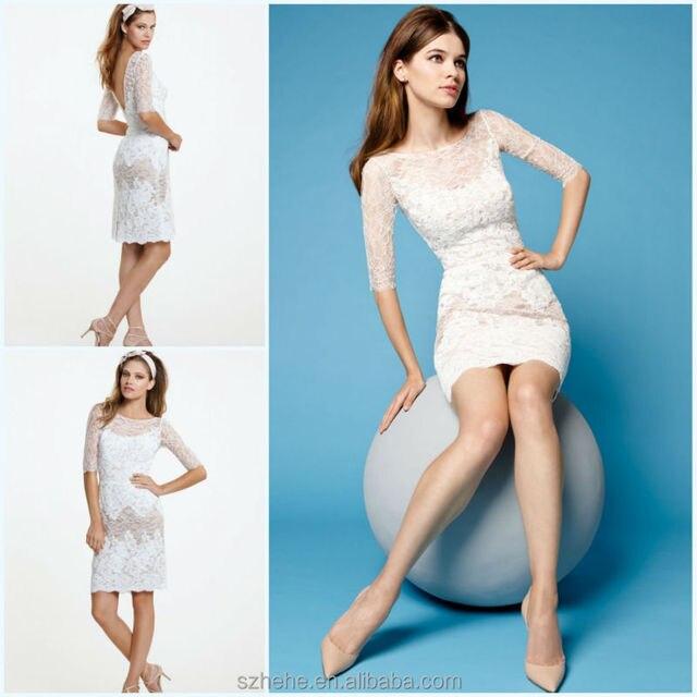 JM.Bridals CW3197 Formal modest half sleeves lace short formal ...