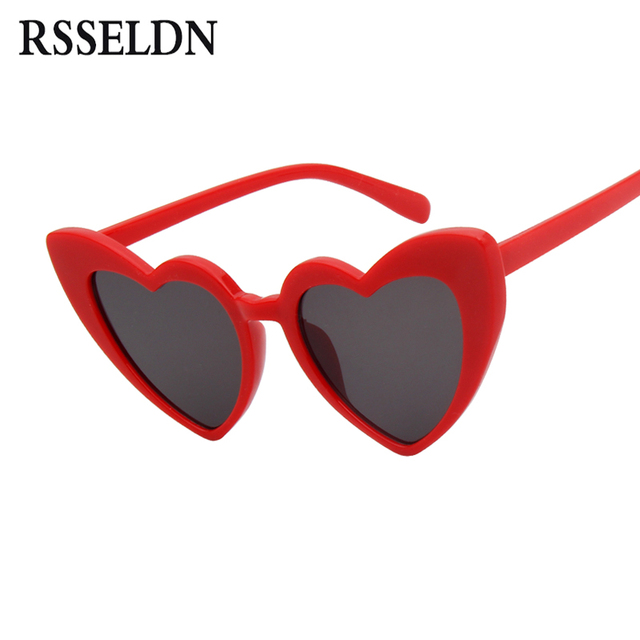c93cb5ff4c RSSELDN Fashion Love Heart Sunglasses Women Vintage Clear Lens Yellow Red  Rimless Heart Shape Sun glasses