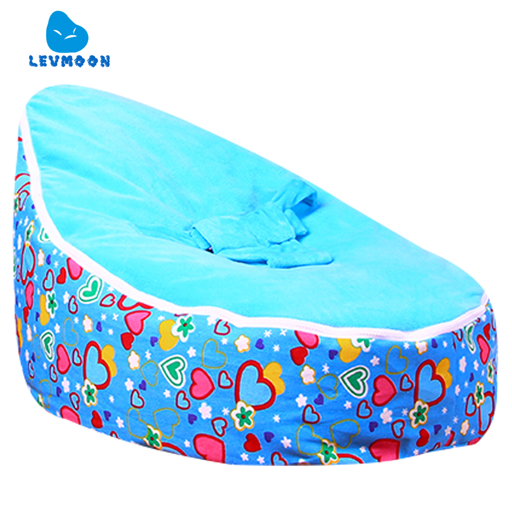 Levmoon Medium Blue Lover Bean Bag Chair Kids Bed For Sleeping Portable Folding Child Seat Sofa Zac Without The Filler
