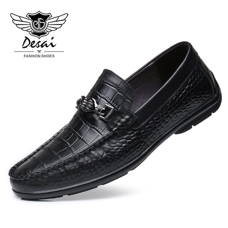DESAI Brand 2018 Korean Spring and Summer Genuine Leather Shoes Beanie Version of the Trend Men's Shoes Casual Soft Bottom Shoes