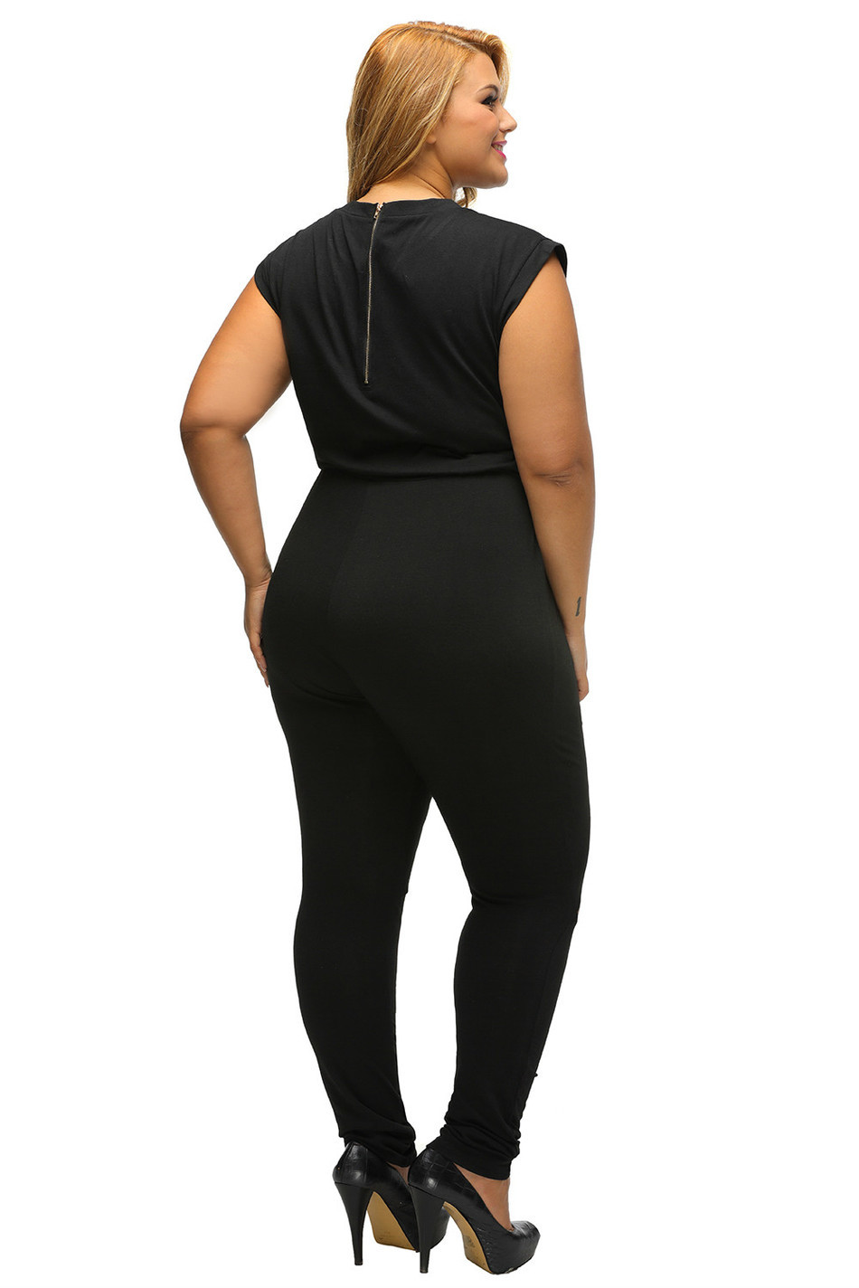 61add2cbd64a3 2017 Women macacao feminino comprido casual Zip Line Black Stretchy Plus  Size Jumpsuit Long Pants Romper Overalls DL64055 2P-in Jumpsuits from  Women's ...
