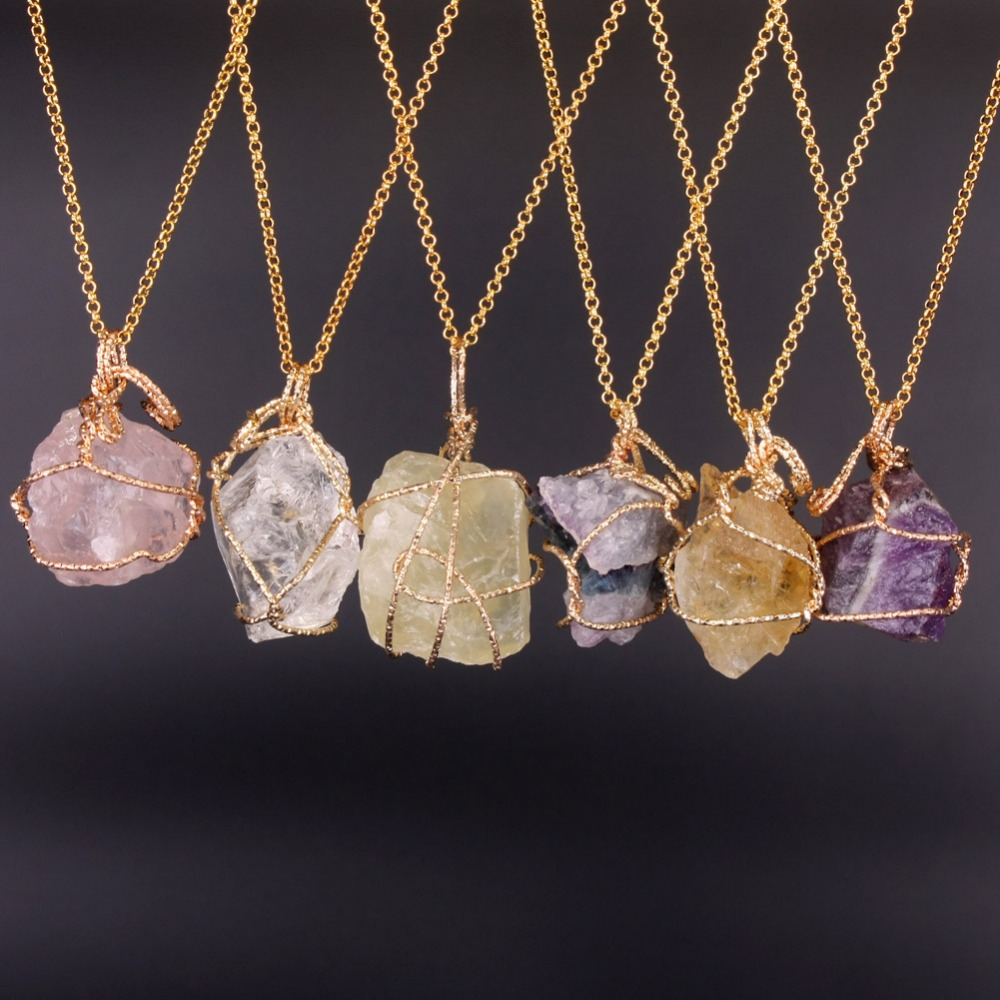 Fashion Jewelry Natural Fluorite Lemon Quartz Necklaces Handmade Irregular Amethyst Pink Crystal Wire Wrap Pendant Necklace