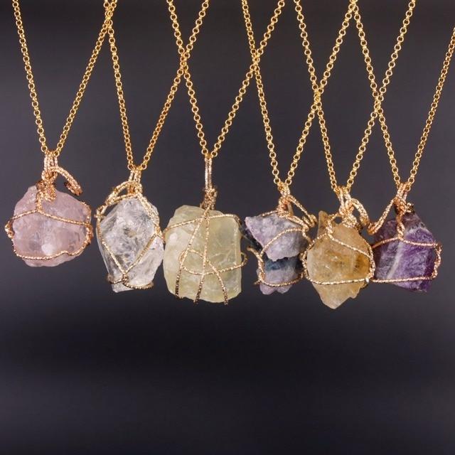 Fashion Jewelry Natural Fluorite Lemon Quartz Necklaces Handmade Irregular Purple Pink Crystal Wire Wrap Pendant Necklace
