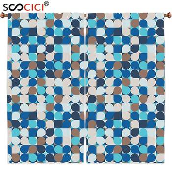 Window Curtains Treatments 2 Panels,Abstract Circles in Squares Mosaic Pattern Pastel Colors Modern Geometric Tile Illustration