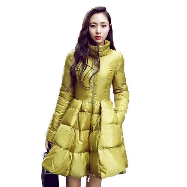 2016 Nuevas Mujeres de La Moda de Invierno Chaquetas de Down Abrigo Y Chaqueta Caliente Larga Delgada Mujer Swing Grande Amarillo/negro de Las Señoras nieve Outwear