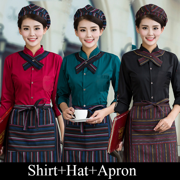 Full Sets Restaurant Waiter Uniform Hat+Shirt+Apron Coffee Shop Waitress Uniform Men Cook Clothing Hotel Bakery Work Wear 89