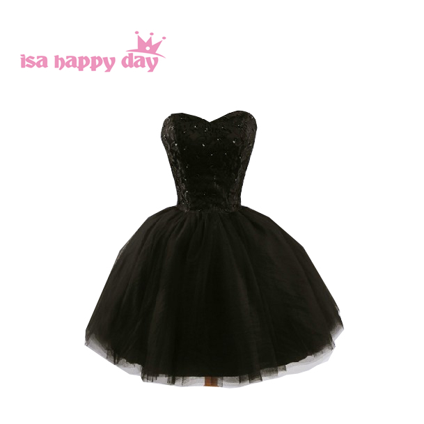 Special Occasion Strapless Formal Teens Gowns Ball Gown Elegant Girls' Black Dresses Short For Prom Dresses 2019 New W587