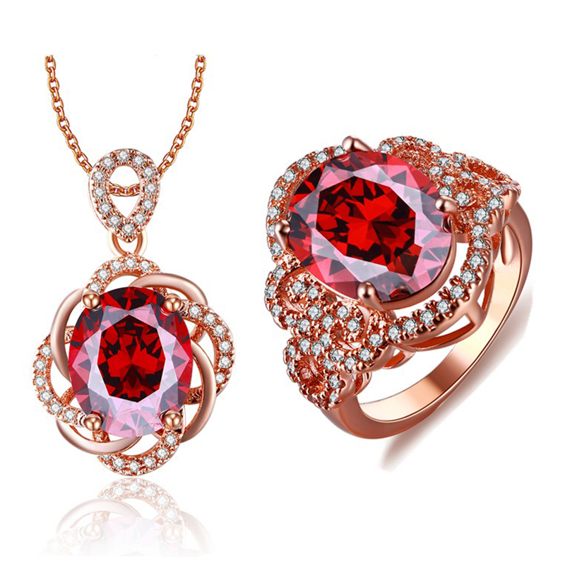 Fashion Rose Gold color Jewelry Sets Red CZ Crystal Bridal ...