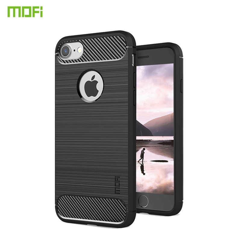 Mofi para apple iphone 7 8 4.7 case case caso silicone macio capa traseira à prova de choque escovado tpu caso para iphone 7 casos de telefone