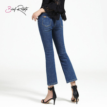 Brief Relate Blue Jeans Woman Bell Bottoms Skinny Ninth Pants Regular Cut Skin Friendly Holes Cropped Length Mid-waist