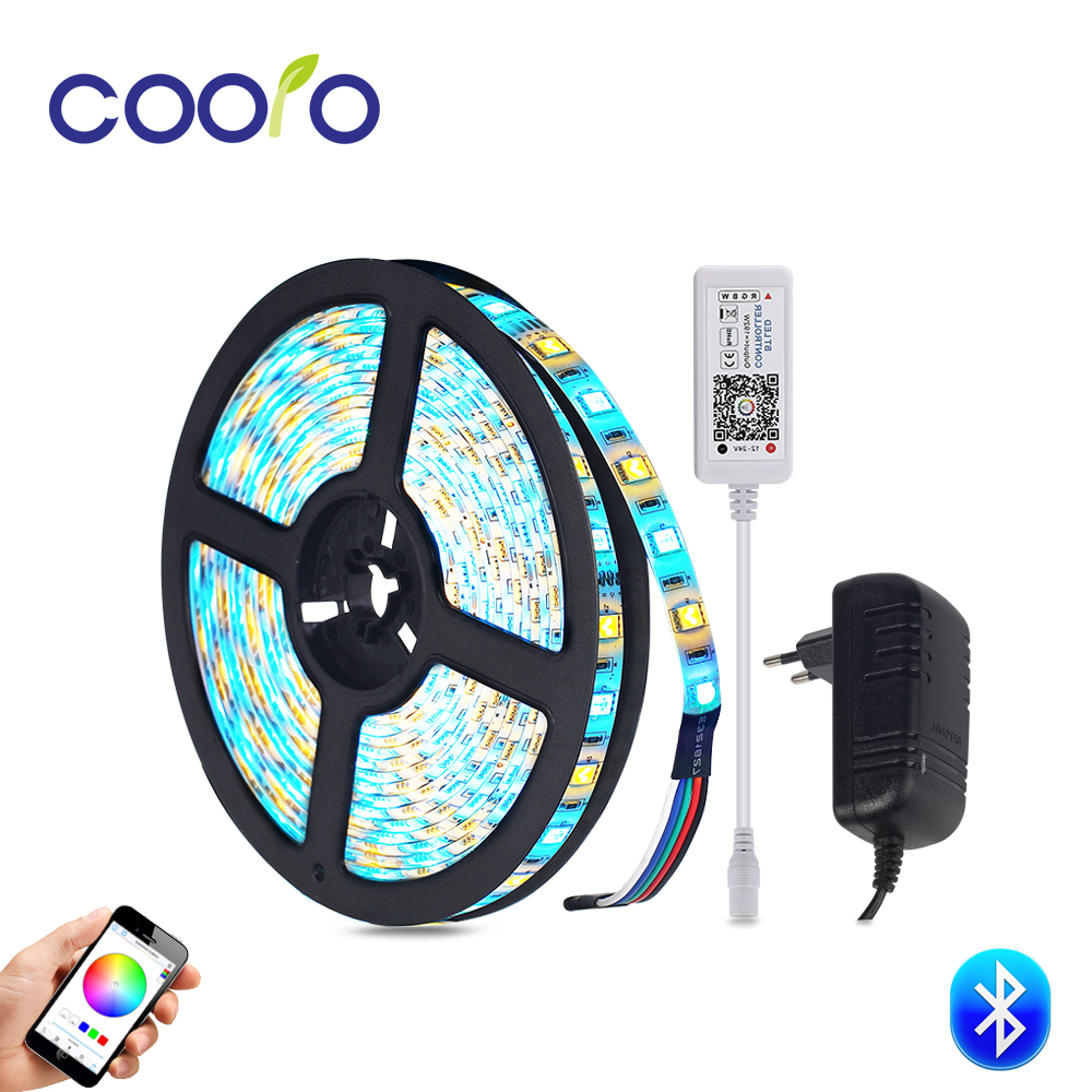 Bluetooth Led Strip Set RGB / RGBW / RGBWW Led Strip Light Waterproof Flexible Led Ribbon Tape 5m/roll with 3A Power Adapter bluetooth