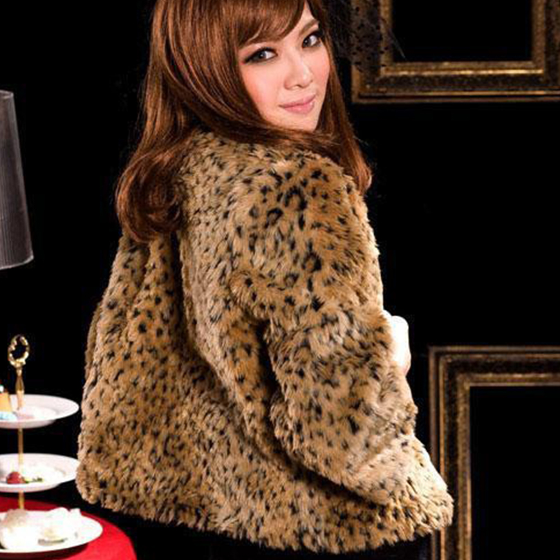 Women Faux Fur Coat Leopard Winter Short Cut Jacket Fur Outerwear ...