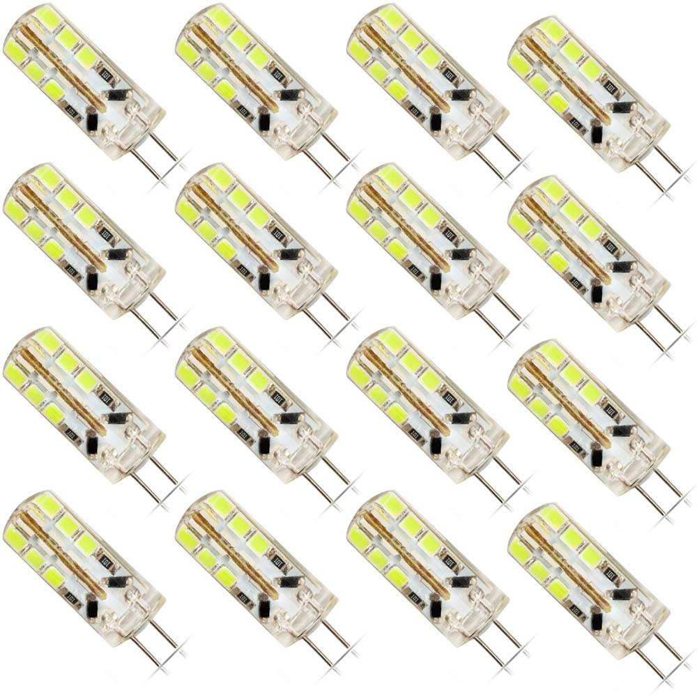 16 Pack G4 Bulb 24 SMD 2835 Super Bright LED Light Bulbs DC 12V 6W LED Light Lamp White/Cold White Signal Lights, Lamps