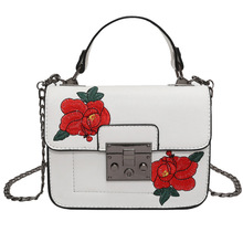New vintage Floral Embroidered Bag Women PU Leather Handbags Famous Brand Women chain Shoulder Messenger Bags Bolsos Sac