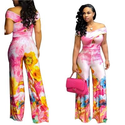 Floral Print Crisscross Off Shoulder Women Jumpsuit Sexy Slash Neck Short Sleeve Night Club Rompers Plus Size Overalls