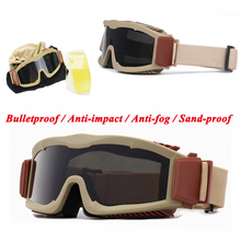 Tactical USMC Gear Airsoft Paintball Bulletproof Sport Goggles Military Army Shooting Combat Protection Sunglasses 3 Lens